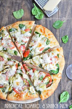 Artichoke, Tomato, and Spinach Pizza   Garnish & Glaze