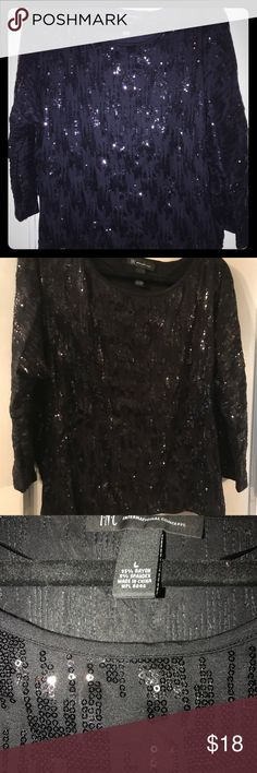 Black sequined top - perfect for the holidays! INC Brand sequined top in great condition. Will be perfect for holiday parties. INC International Concepts Tops