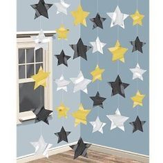 Hanging String Decoration Stars Black Gold 6pk A991760 Party Awards Night