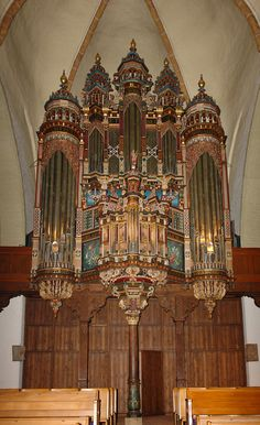 Highly decorated organ in St. Martini Church, Bremen, Germany, built 1619.