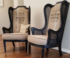 Pair of cane wingback chairs for custom reupholstery French Farmhouse Grainsack Upholstered * feed-sack vintage grain sack Dinning Chairs, Old Chairs, Vintage Chairs, Wingback Chairs, Black Chairs, Funky Chairs, Swing Chairs, Ikea Chairs, Armchair