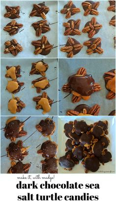 We've given the classic Turtle Candy a sophisticated twist with dark chocolate and sea salt. So. Much. Yum. #recipe #candyrecipe #DIYturtlecandy #