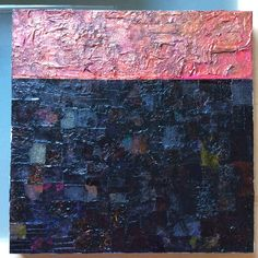 Lynda Bleyberg  'Dawn Strata'  black and pink collage on canvas. 16' by 16' Acrylic paint, fabric, and paper. For Sale. £350.