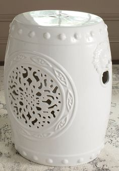 Amazon.com: Safavieh Castle Garden's Collection Glazed Ceramic White Flower Drum Garden Stool: Patio, Lawn & Garden