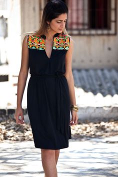 Tribal Kaftan Dress, Black Caftan embroidery dress , Lycra Ethnic dress, Black and Neon Colors, Short Dress, V-neckline, Moroccan Inspired