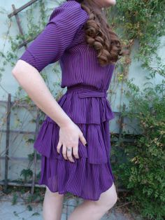 Vintage Ruffled Striped Dress 80's Puff by sailorpinkvintage, $28.00