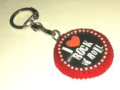 keyring, beaded keychain, metal keychain, I love rock'n''roll, for music lovers
