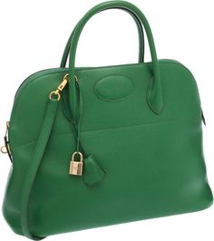 bd274a76c5 Hermes 37cm Vert Clair Courchevel Leather Bolide Bag with Gold Hardware Hermes  Bolide