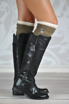 KHAKI DIAMOND BUTTONED BOOT CUFFS We've added buttons and some ruffled lace to the plain version of these cuffs for a little extra touch.The diamond patterned boot cuffs with two little rounded buttons add the uniqueness that your regular cuff needs. Your legs and boots will stand out and questions will be asked.   The open diamond shaped knit pattern and a layered double ruffled lace makes these cuffs the perfect accessory to you boots at a glance.