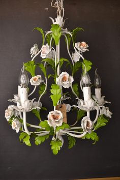 Fabulous vintage italian tole Flower Chandelier with porcelain roses 1940/50.    A truly unique piece of art! Basis is a large metal frame with