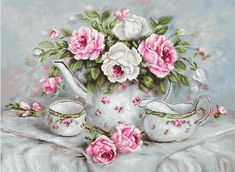 Excited to share the latest addition to my shop: Tea set and roses Counted Cross Stitch Kit Still life Modern Cross stitching kit Luca-S Embroidery Flower painting Needlepoint kits Bouquet Cross Stitch Rose, Cross Stitch Flowers, Modern Cross Stitch, Cross Stitch Designs, Cross Stitch Patterns, Cross Stitch Embroidery, Embroidery Patterns, Hand Embroidery, English Tea Roses