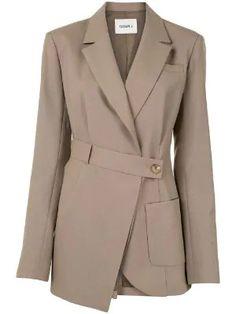 J Asymmetric Wrap Blazer - Farfetch Mode Mantel, Outfit Invierno, Mode Streetwear, Coat Dress, Blazer Dress, Sleevless Blazer, Fashion Outfits, Womens Fashion, Fashion Poses