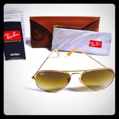Authentic Ray-ban Aviators Authentic Rayban Aviators these are in excellent condition there are a few superficial scratches I actually only wore these maybe three times.  Lowest  price no trades Ray-Ban Accessories Glasses