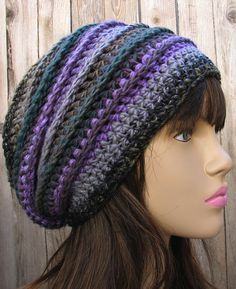 Love this slouchy crochet hat - need to find a free pattern for this!