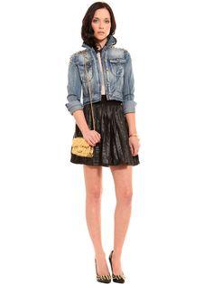 Gold Spiked Denim Jacket, leather skirt, gold spiked heels