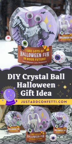 Get ready for Halloween with this cute DIY Crystal Ball Halloween gift idea. Perfect for kids Halloween gifts for school and classroom parties. Also, these would be adorable party favors. Add any small toy or wrapped candy. Or add a gift card to a Halloween shop for a great gift for teens, adults, teachers and neighbors too! The crystal ball printable is available in my Just Add Confetti Etsy shop. Be sure to head to justaddconfetti.com for even more Halloween gift ideas and inspiration!
