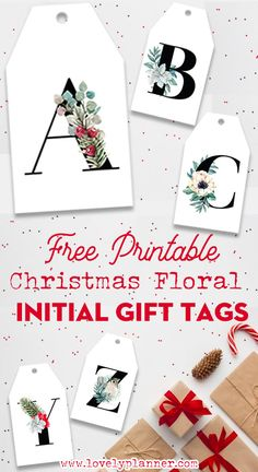 Printable Christmas Initial Gift Tags with 26 Floral Alphabet Tags to decor., Free Printable Christmas Initial Gift Tags with 26 Floral Alphabet Tags to decor., Free Printable Christmas Initial Gift Tags with 26 Floral Alphabet Tags to decor. Christmas Labels, Holiday Gift Tags, Free Christmas Printables, Christmas Gift Wrapping, Christmas Tag, Christmas Crafts, Diy Gift Tags, Free Printables, Christmas Ideas