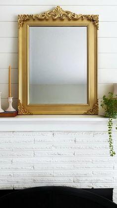 Diy Wall Decor, Diy Bedroom Decor, Diy Home Decor, Diy Mirror Decor, Furniture Makeover, Diy Furniture, Diy Mirrored Furniture, Gold Mirror Bathroom, Gold Mirrors