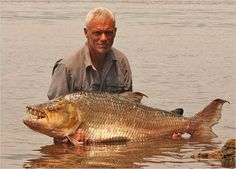 Goliath Tigerfish caught by Jeremy Wade.  a giant-sized relative of the piranha and one of the hardest freshwater fish in the world to hook and land