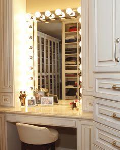Makeup Vanity Mirror Walk In Closet 37 Ideas Custom Closet Design, Walk In Closet Design, Custom Closets, Closet Designs, Custom Design, Bathroom With Makeup Vanity, Diy Vanity Mirror, Closet Mirror, Closet Vanity