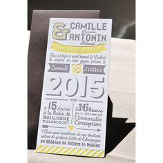 Faire-part de mariage en Letterpress typographique et moderne