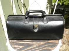 Drs Bag Small Black Leather Antique by CrystalLakeEmporium on Etsy, $125.00