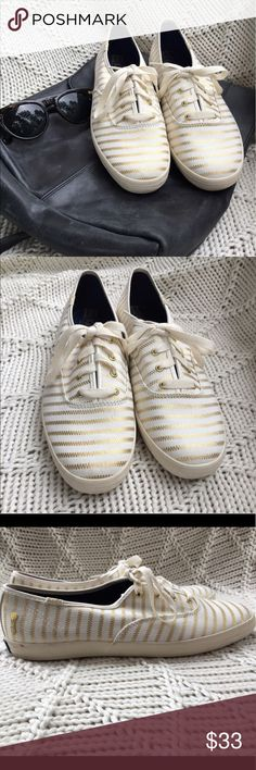NWOT GOLD AND CREAM KEDS!! Perfect condition! Super cute and stylish chic KEDS! Perfect for every day where in the spring & summer! New without tags, never worn, and in perfect condition!! Canvas material with gold foiled stripes :) Keds Shoes Sneakers