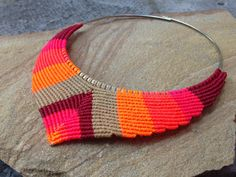 Design Macrame Necklace in V shape with by RitaPratesCaetano