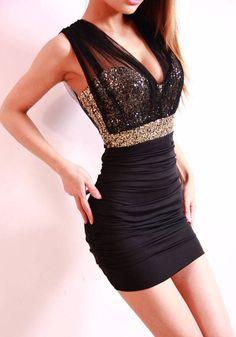 Black Sequined V-neck Sleeveless Sexy Skinny Polyester Dress - Dresses