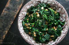 Sautéed Greens with Pine Nuts and Raisins ~ Sautéed kale, mustard ...