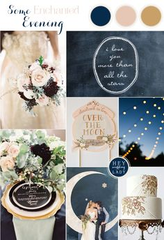 An Astronomy Themed Wedding Inspiration Board in Indigo Blue, Blush, and Antique Gold | See More: http://heyweddinglady.com/astronomy-themed-wedding-in-indigo-blush-and-gold/