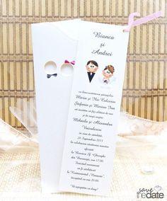 Invitatie de nunta cu miri si decupaje