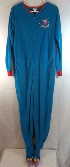The Muppets The Great Gonzo Footed Pajamas Blue M Womens One Piece   TheMuppets  Onesie 93f47e850