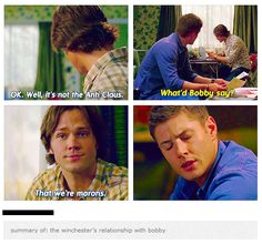Summary of the Winchester boys and their  relationship with Bobby… from 3x08 A Very Supernatural Christmas