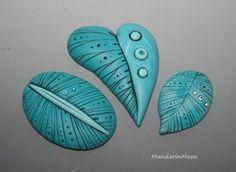 Polymer Clay Leaf Cabochons by MandarinMoon