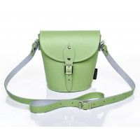 Pastel Grass Green Leather Barrel Bag