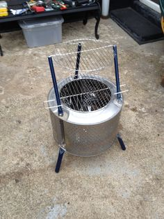 I love this idea using an old washer tub to make a grill I ...