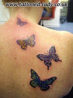 Butterflies Back Tattoo by Tattooed Lady