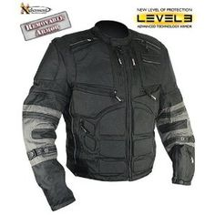 Xelement Mens Black and Gray Level-3 Armored Jacket with Removable Arm Sleeves and Tri-Tex Fabric