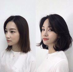 curtain bangs, curled ends Ulzzang Short Hair, Asian Short Hair, Asian Hair, Korean Short Hairstyle, Short Hair Korean Style, Medium Hair Cuts, Short Hair Cuts, Medium Hair Styles, Curly Hair Styles