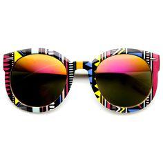 Women/'s Fashion Palm Tree Print Rainbow Lens Oversized Round Sunglasses zeroUV