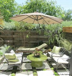 Courtney Lake Interiors, Many beautiful outdoor spaces to inspire you.  It is an excellent story for chosing pavers for your back yard project.