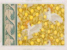 Chromolithograph, 'Poissons, frise au pochoir. Cacatoës et citrons, cretonne', 1897.