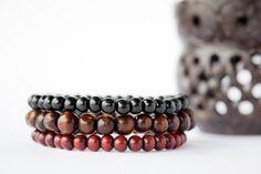 Mens Wood Bracelet Beaded Bracelet Wood Beaded by MintAndGlamour