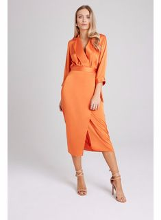 **Girls on Film Orange Satin Look Wrap Skirt | Dorothy Perkins