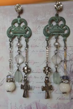 Multi gem dangle earrings with crosses, carved shell and crystals by Purrrls on Etsy