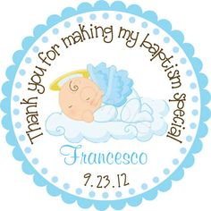 Our Little Angel Baby Boy Personalized Stickers - Party Favor Labels, Address Labels, Christening, Baptism - Size Choice Baptism Party, Baptism Ideas, Baby Party, Baby Boy Christening, Baby Shower, Personalized Stickers, Baptism Invitations, Party Favors, Address Labels