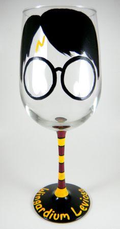 Harry Potter inspired Wine Glass, Wingardium Leviosa, HP, Hogwarts, Wizardry, Witchcraft, Muggle, Weasley, Hermione by ImpulsiveCreativity on Etsy https://www.etsy.com/listing/165876872/harry-potter-inspired-wine-glass