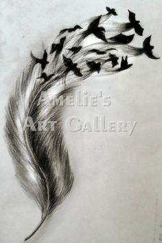 feathers with birds tattoo -i love this