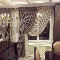 New Ideas For Bedroom Modern Curtains Window Treatments Classic Curtains, Elegant Curtains, Modern Curtains, Living Room Decor Curtains, Home Curtains, Curtains With Blinds, Curtain Styles, Curtain Designs, Curtain Ideas